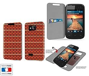 Funda Carcasa Yezz Andy 3.5E12 Mur en briques Pixels Collection Pattern de almacenamiento innovadoras con tarjeta de la puerta interna - Estuche protector de Yezz Andy 3.5E12 con fijación adhesiva reposicionable 3M