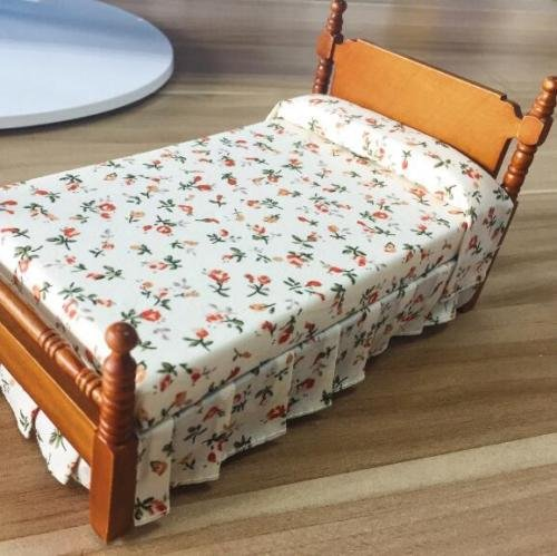 Dollhouse Miniature Scene (EatingBiting(R)1:12 Doll Vintage Flower Print Bed , Dollhouse Miniature Furniture Wooden Single Bed Traditional Flower Bed , DIY Scene Doll Home Furniture Craft Accessoreis .)