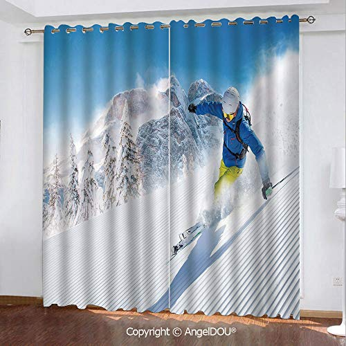 - SCOCICI 2 Panels Set Personalized Printed Blackout Grommet Window Curtains Skier Skiing Downhill in High Mountains Extreme Winter Sports Hobbies Activity Decorative for Bathroom Living Room Bedroom
