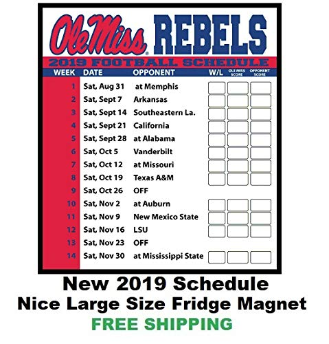 f06860bd92e Amazon.com  2019 NCAA Ole Miss Rebels Football Schedule Fridge ...