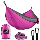 Automotive : Double Portable Camping Hammock & Straps - Parachute Hammock Tree Straps Set with Max 1000 lbs Breaking Capacity Included - Free Lightweight Carabiners for Backpacking, Camping, Hiking, Travel, Beach
