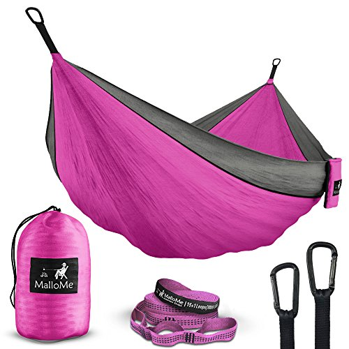 Double & Single Portable Camping Hammock - Parachute Lightweight Nylon with Hammok Tree Straps Set- 2 Person Equipment Kids Accessories Max 1000 lbs Breaking Capacity - Free 2 - Single Atlas