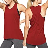 FarJing Women's Cross Back Yoga Shirt Sleeveless Racerback Workout Active Tank Top(L,Wine Red)