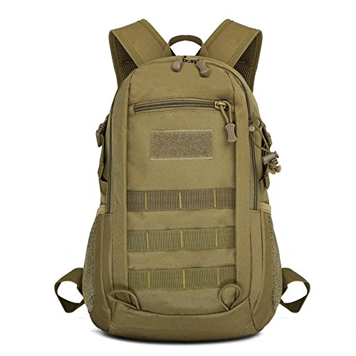 X-Freedom 10L Military Backpack Mini Daypack Tactical Assault Pack MOLLE Backpack Rucksack Summer Winter Small Backpack Student School Bag for Hiking Hunting Camping Trekking Travel (Dark Brown)