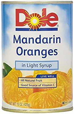 Dole Canned Fruit, Mandarin Oranges, Whole Segments In Light Syrup, 15 oz by Dole
