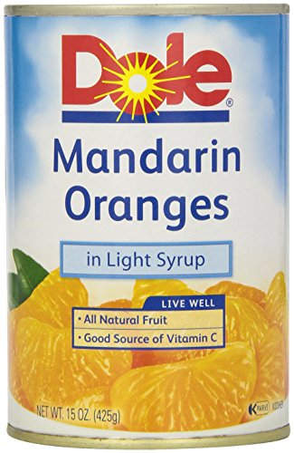 Mandarin Oranges Vitamin C - Dole Mandarin Oranges, Whole Segments in Light Syrup, 15 Ounce Can, All Natural Mandarin Orange Segments Packed in Light Syrup, Naturally Fat-Free & Cholesterol-Free, Rich in Vitamin C, No Added Sugar