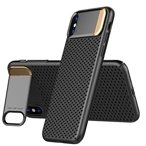 iPhone X Heat Dissipation Case, AICase Breathing Ultra Slim iPhone X Hard PC Metal Kickstand and Honeycomb Heat Dissipation Shockproof Hard PC Cover for Apple iPhone X/10 (Black)