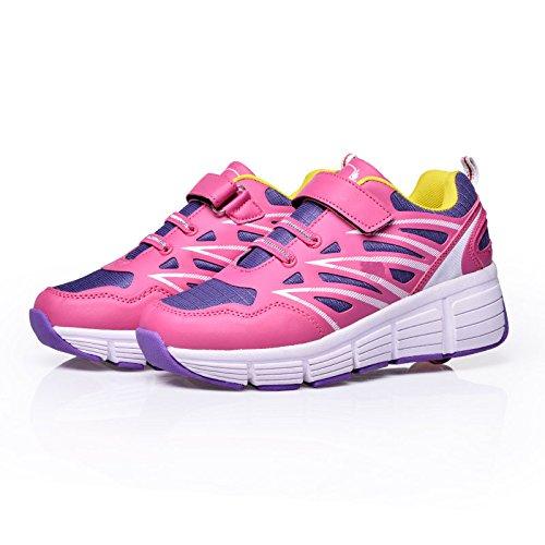 SDSPEED Kids Roller Skate Shoes With Single Wheel Shoes Sport Sneaker (1.5 M US Little Kid, Pink Purple)