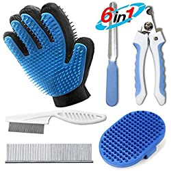 6 in 1 Pet Grooming Brush Kit :Pet Nail Clippers & File+DOUBLE-SIDED Tooth Pet Grooming Glove+Pet Steel Comb+Flea Comb+Shampoo Massaging Brush ,Sturdy & Easy-Grip Grooming Brush Set for Dog and Cat