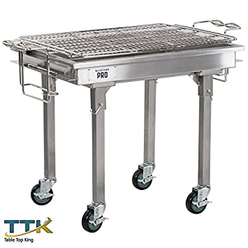 "Mesa King 30 "" – Barbacoa de carbón vegetal de acero inoxidable con patas desmontables"