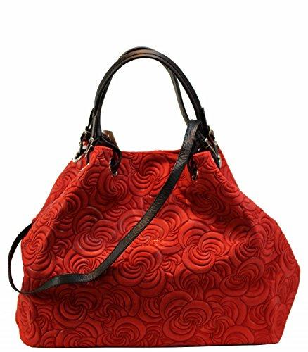 Borsa Bozana Lea Rosso Italia Designer Donna Borsa In Pelle Borsa Scamosciata Shopper Goffratura Nuovo