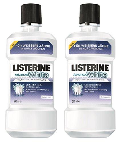 Listerine Advanced White Multi-Effekt-Mundspülung NEU 2 x 500ml