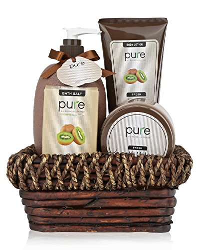 Pure Kiwi Deluxe Spa Gift Basket. BEST Birthday Gift & Thank You Gift for Women! Pure Bath & Body Gift Baskets, Voted the #1 Gift for Men & Women!