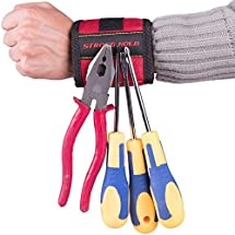 SUPER STRONG Magnetic Wristband, Holds Small Metal Tools, Screws, Nails, Bolts Tightly While Working. Embedded with Super Powerful Magnets, Perfect Solution to Making Endless Trips to the Toolbox!