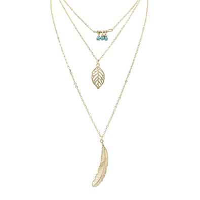 Womens Bohemian Leaves Silver Multilayer Pendant Long Chain Necklace Jewelry