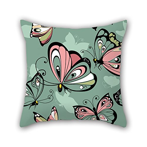 PILLO Butterfly Cushion Cases 16 X 16 Inches / 40 By 40 Cm Best Choice For Kids,birthday,valentine,kids Girls,son,saloon With Twin Sides