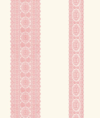 A-Street Prints 1014-001831 Brynn Paisley Stripe Wallpaper, Pink