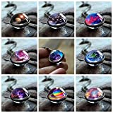 Womens Pendant Necklaces New Nebula Galaxy Double Sided Pendant Outer Space Necklace Universe Silver Jewelry Glass Art Picture Handmade Necklace