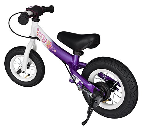 BIKESTAR® Original Safety Lightweight Kids First Balance Running Bike with brakes and with air tires for age 2 year old boys and girls | 10 Inch Sport Edition | Candy Purple