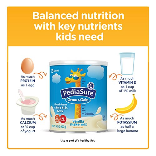PediaSure Grow & Gain Non-GMO Vanilla Shake Mix Powder, Nutrition Shake for Kids, 14.1 oz, 3 Count by Pediasure (Image #5)