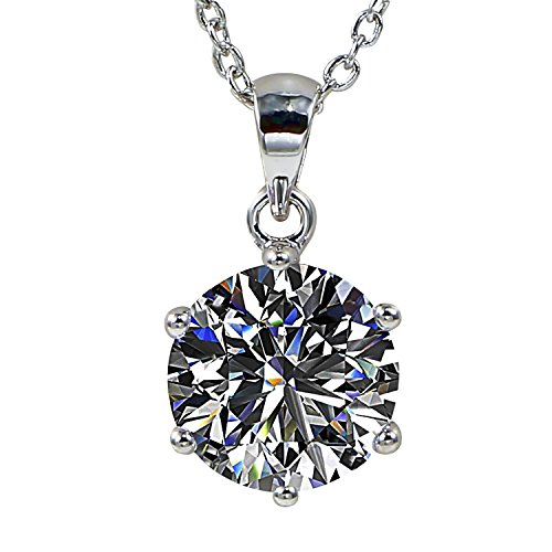 - Juliani 18k-Gold-Plated Hypoallergenic Pendant Necklace - 10mm 3 Carat CZ Diamond | Solitaire Chain Jewelry Women Girls | Kids Teens