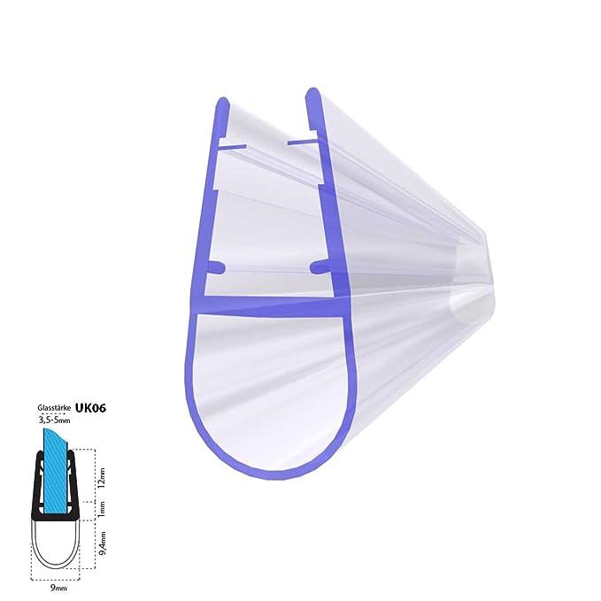 STEIGNER Duschdichtung, 80cm, Glasstärke 3,5/4/ 5 mm, Gerade PVC Ersatzdichtung für Dusche, UK06