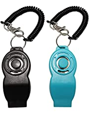 Dogs Clicker,Dog Training Clickers and Whistle in One,Pet Dog Training Clicker with Wrist Strap for Training Pet Dog Puppy Cats Bird Horse (Black&Blue)