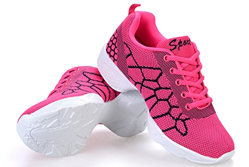 VECJUNIA Ladies Lace-up Adults Sneakers Breathable Jazz Mesh Dance Shoes Red Gq8HakRtCK