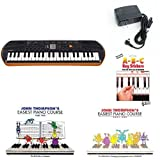 Casio SA76 44 Keys 100 Tones Keyboard bundle with Casio Power Supply, Three Part John Thompson\'s Easiest Piano Course and ABC Keyboard Stickers