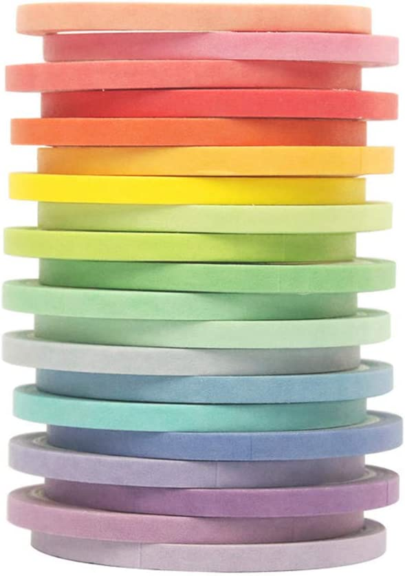 5MM and 3MM Wide Washi Tape Set 40 Rolls Masking Tape Pack Colorful Decorative Thin Tapes Fit DIY Scrapbooking Crafts Gift Wrapping Tapes