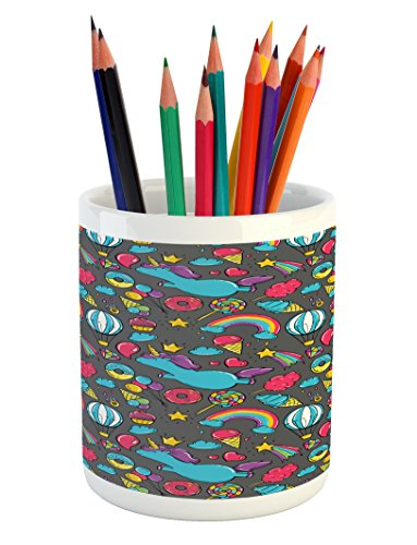 Ambesonne Kids Pencil Pen Holder, Dreamy Unicorns Rainbows C
