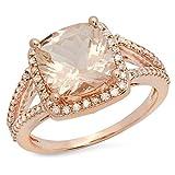 14K Gold Cushion Cut Morganite & Round Cut White Diamond Bridal Split Shank Halo Style Engagement Ring