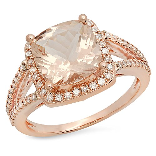 14K Gold Cushion Cut Morganite & Round Cut White Diamond Bridal Split Shank Halo Style Engagement Ring