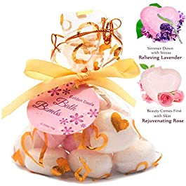 Gifton® Bath Bombs Presents for Teenage Girls Womens Mum Nan Wife – Little Gift of Love – Set of 10 Bath Fizzers – Melts Moisturizing Skin Home Spa – Heart Lavender Rose