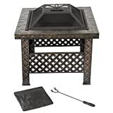 "Pure Garden Fire Pit Set, Wood Burning Pit -Includes Screen, Cover and Log Poker- Great for Outdoor and Patio, 26 Inch"" Woven Metal Square Firepit"