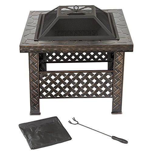 "Pure Garden Fire Pit Set, Wood Burning Pit -Includes Screen, Cover and Log Poker- Great for Outdoor and Patio, 26 Inch"" Woven Metal Square Firepit by Pure Garden"