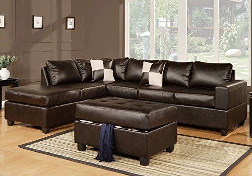 1PerfectChoice Chic Modern Bonded Leather Living Room Sectional Sofa Chaise w/ Ottoman Pillows Color: Espresso