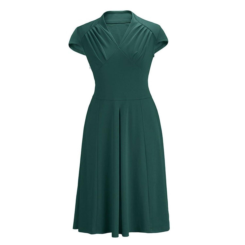 Kekexili-lange Weinlese-Kleid Frauen-kurzen Ärmels 50s Abendkleid retro schwingen Gelb / Rot / Grün / Schwarz / Blau