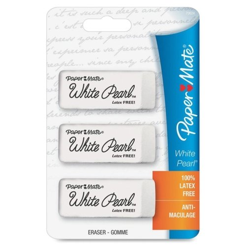 Newell Erasers - Paper Mate White Pearl Latex Free Eraser - Lead Pencil Eraser - Latex-free, Smudge Resistant - 3/Pack - White