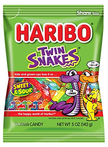 Haribo Gummi Candy, Twin Snakes Sweet & Sour, 5 oz. Bag