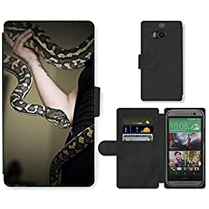 Super Stella Cell Phone Card Slot PU Leather Wallet Case // M00105531 Python Snake Pet Animal Snakehead // HTC One M8