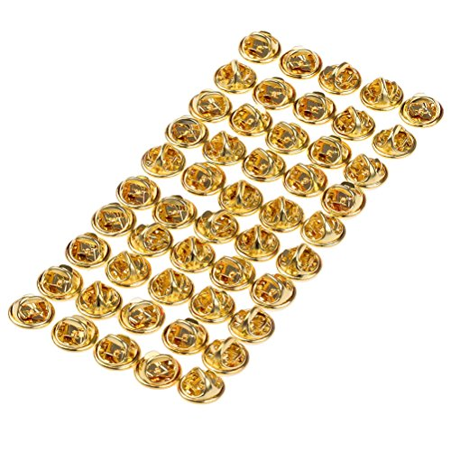 (Eshylala 50 Pack Brass Butterfly Clutch Badge Insignia Clutches Pin Backs Replacement,Golden)