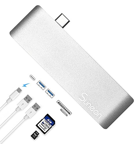 Price comparison product image SUNEON USB C Adapter, 5 in 1 Aluminum Type C Hub with 2 USB3.0 Ports, SD / Micro SD Card Reader, Type C Charger Port for 2016 / 2017 Macbook Pro, Micsoft 950XL, Google Chromebook and More Type C Device(Silver)
