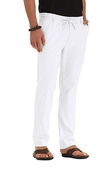 50ee35d2 ZYFMAILY Men's Linen Cotton Drawstring Casual Summer Pants