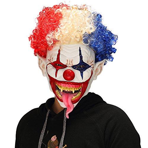 Horror Halloween Scary Explosive Head Snake Tongue Evil Clown Mask -