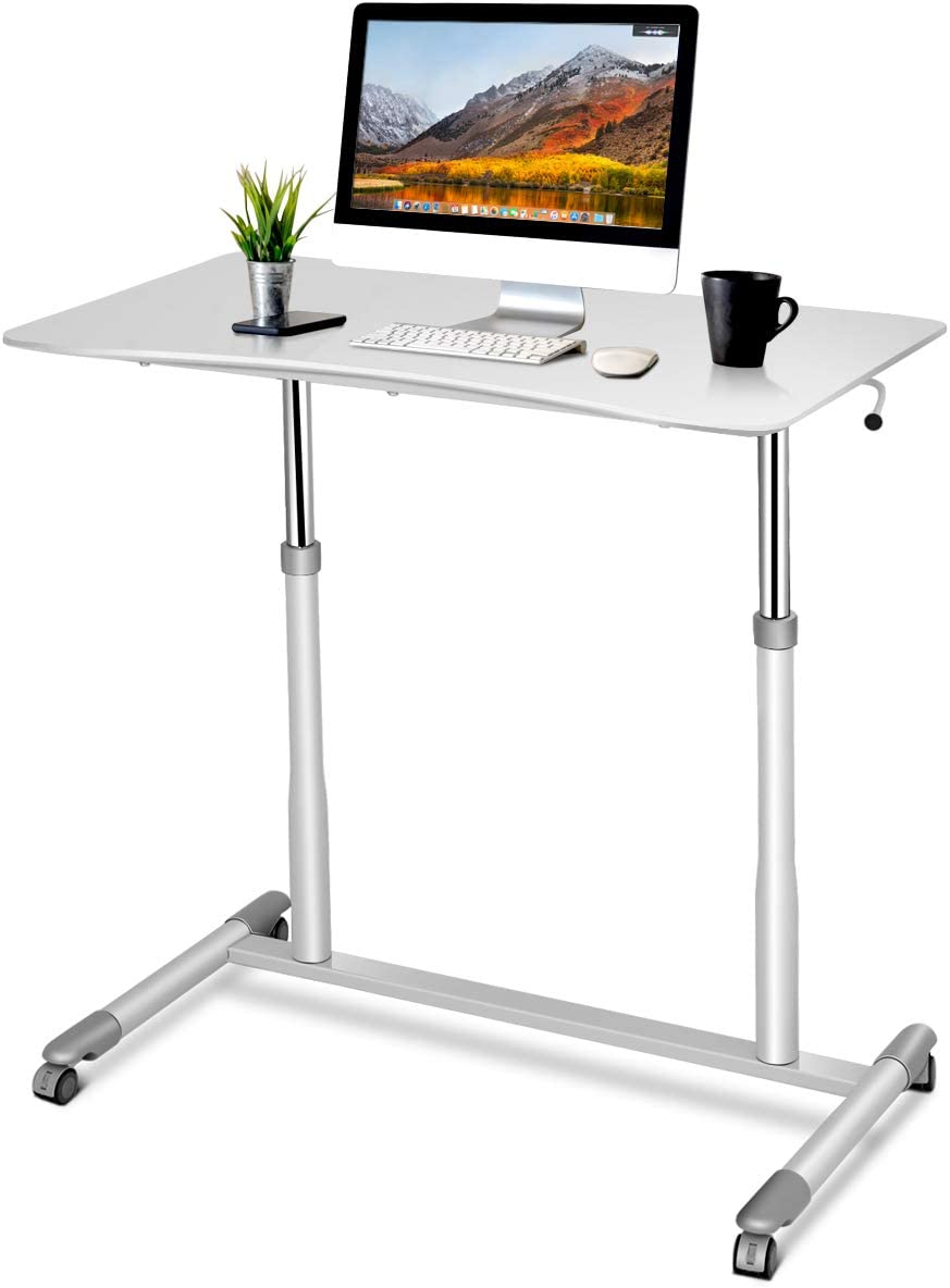 Tangkula Standing Desk Computer Desk, Height Adjustable Desk Sit Stand Desk with 4 Movable Wheels, Portable Writing Study Laptop Table of Iron Pipe Frame, MDF, PVC Tabletop – White