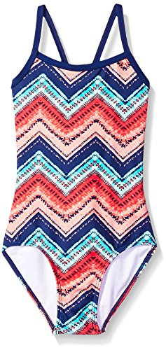 Kanu Surf Toddler Girls' Layla Beach Sport Banded One Piece Swimsuit, Kirsten Coral Chevron, 3T