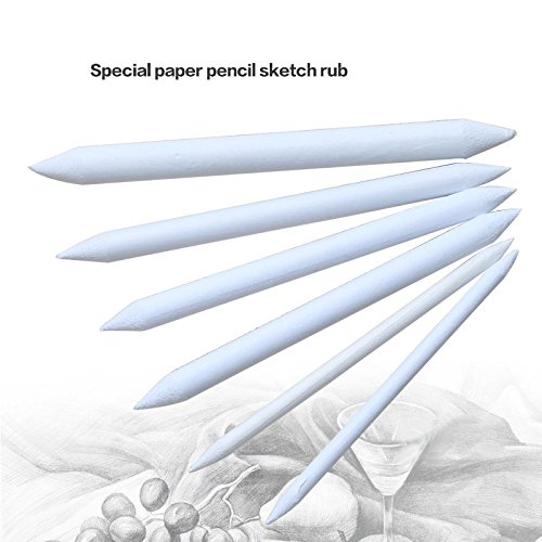 AUAUDATE 6pcs Durable Paper Blending Stump Tortillon Sketch Art Drawing Pens Tool White Espace beaux arts