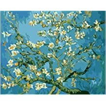 [ New Release ] Diy Oil Painting by Numbers, Paint by Number Kits - Worldwide Famous Oil Painting Replica Apricot Blossom by Van Gogh 16*20 inches - Digital Oil Painting Canvas Wall Art Artwork Landscape Paintings for Home Living Room Office Christmas Decor Decorations Gifts - Diy Paint by Numbers Diy Canvas Kit for Adults Advanced Children Seniors Junior - New Arrival