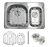 33 Inch Top-mount/Drop-in Stainless Steel 70/30 Double Bowl Kitchen Sink With 1 Faucet Hole - 18 Gauge with Accessories